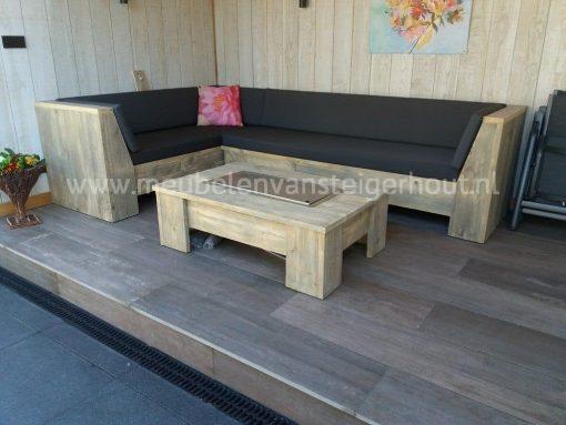 Steigerhouten loungehoekbank met schuine leuningen