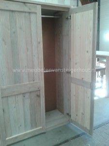 Steigerhout kledingkast met hang en leg 1