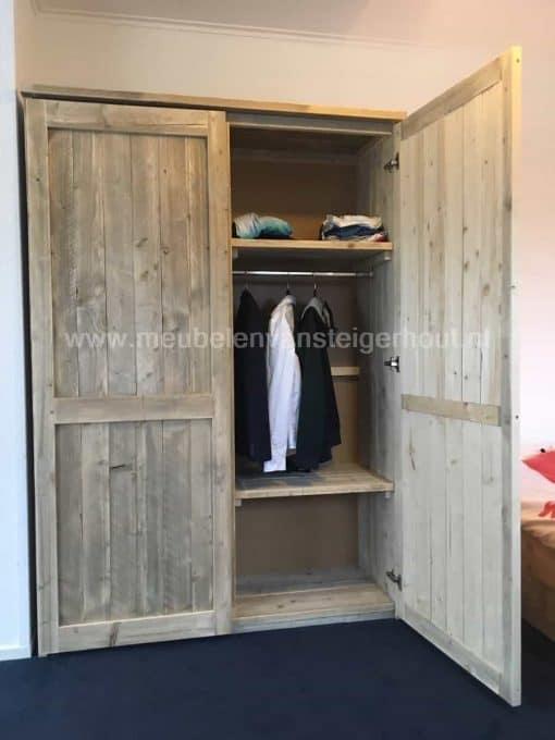Steigerhout kledingkast met hang leg