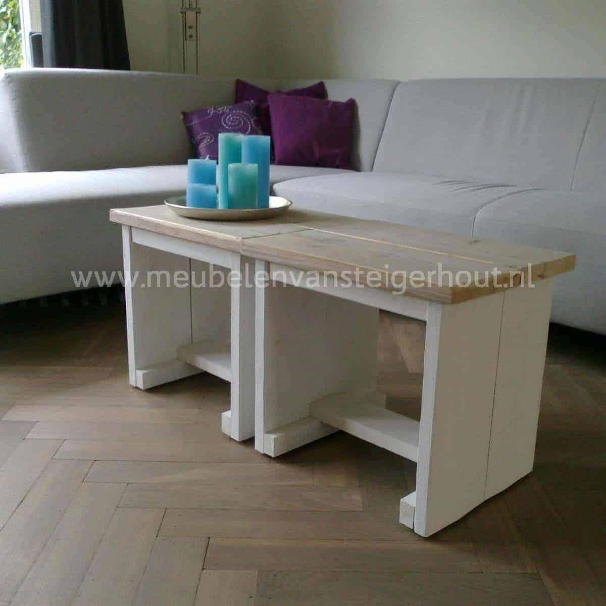 Salontafel tafel 6 meubelen van steigerhout for Bijzettafel steigerhout