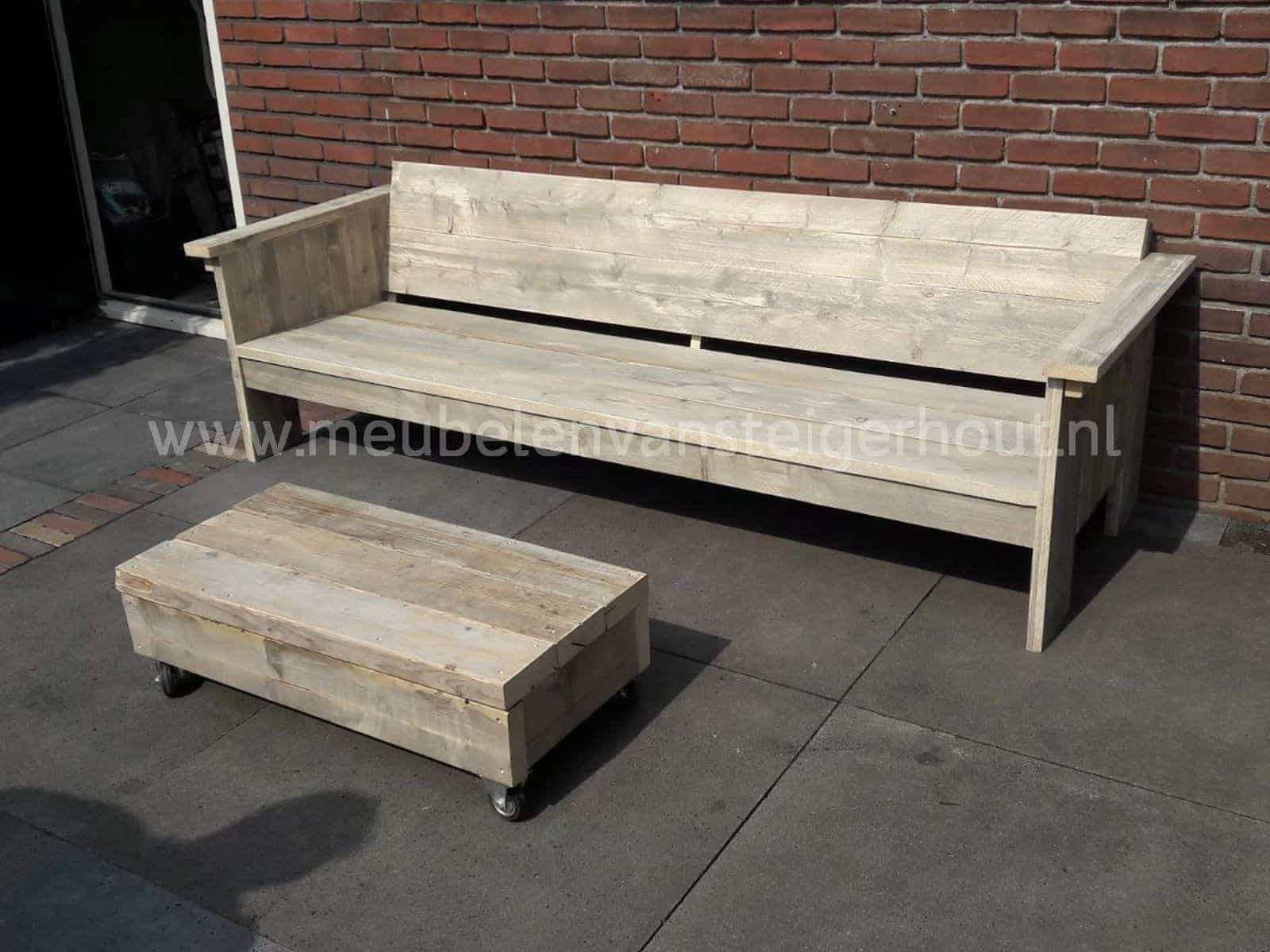 Loungebank londen meubelen van steigerhout for Loungebank steigerhout