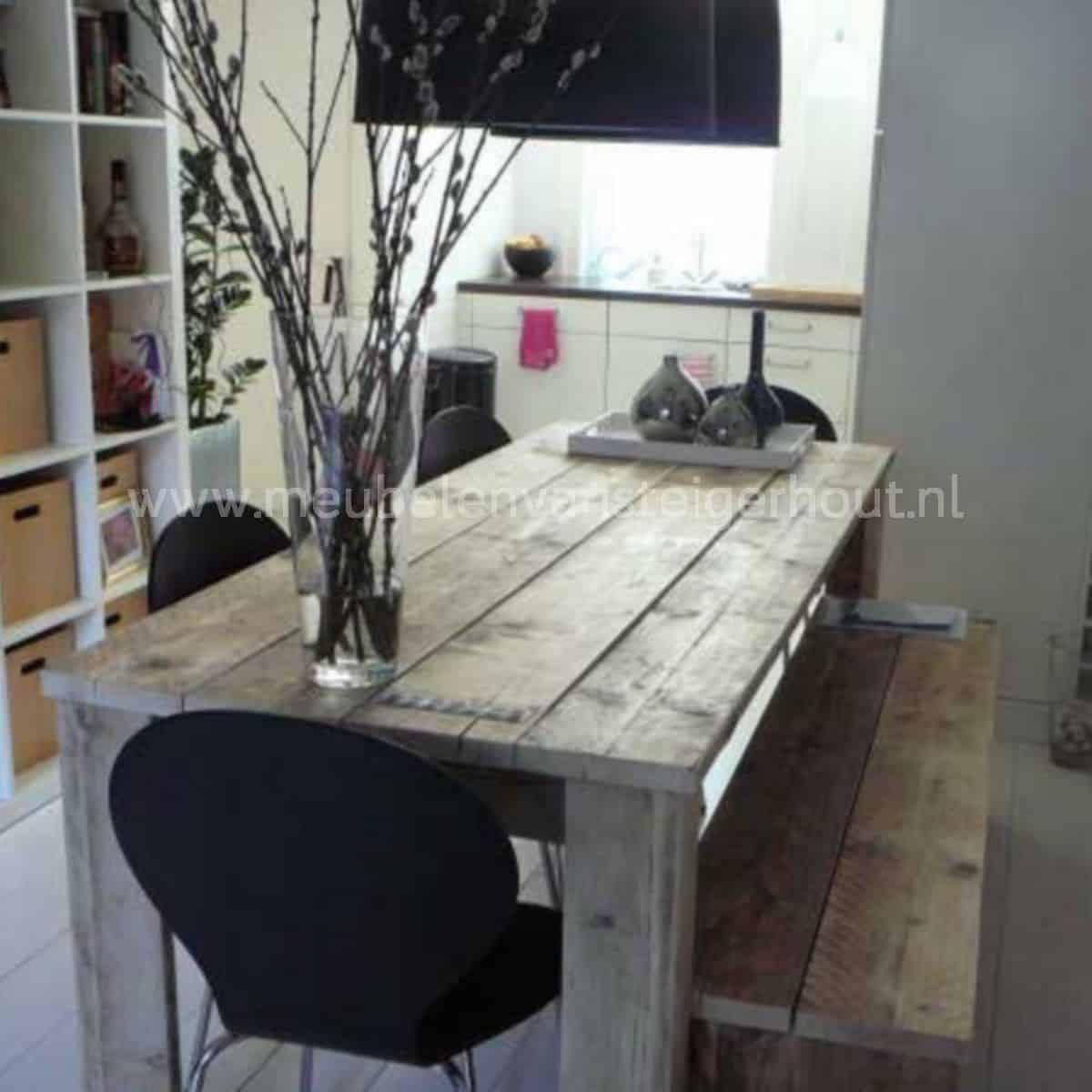 Eettafel standaard model meubelen van steigerhout for Steigerhouten eettafel maken