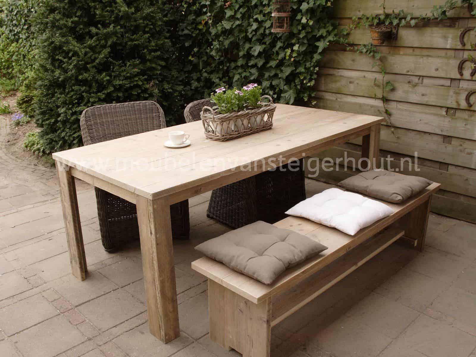 Tuintafel standaard meubelen van steigerhout for Tuintafel steigerhout bouwpakket