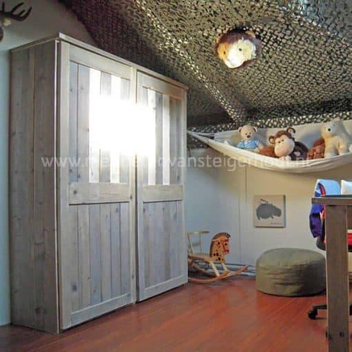 Steigerhouten kledingkast met hang en leggedeelte, type Sophie