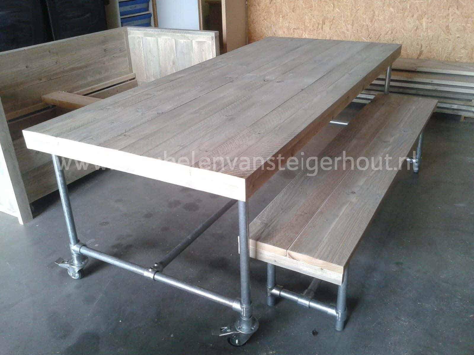 Meubels Met Steigerbuizen : Tafel met steigerbuizen onderstel op wielen meubelen van steigerhout