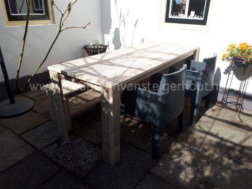 Boxstoel grijs tuinset steigerhout met box stoel en bank