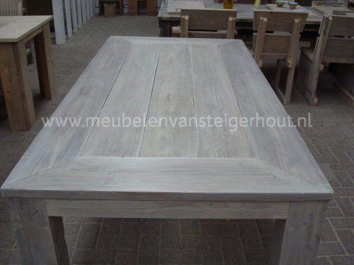 Tafel steigerhout blad in verstek whitewash