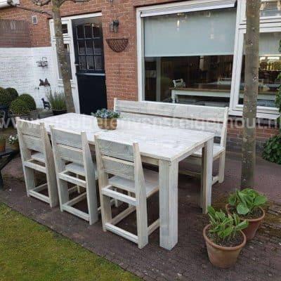 Steigerhouten tuinset met tafel stoelen en bank