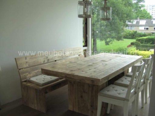 Steigerhouten bank voor aan de tafel zonder armleuningen 1