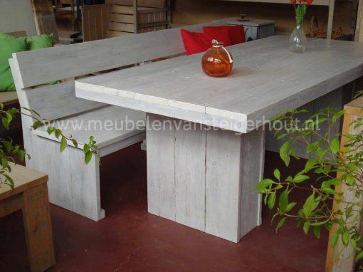 Steigerhouten bank voor aan de tafel zonder armleuningen 3