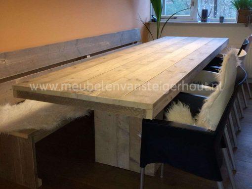 Steigerhouten bank voor aan de tafel zonder armleuningen 4