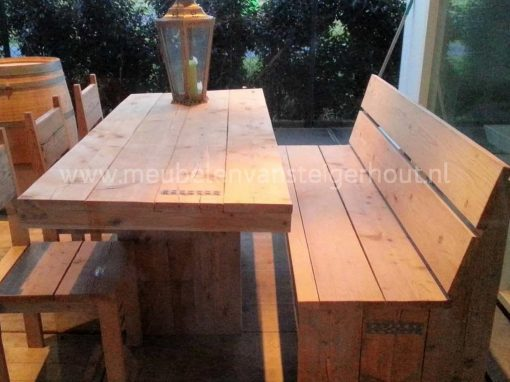 Steigerhouten bank voor aan de tafel zonder armleuningen 5
