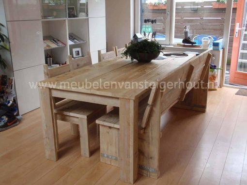 Steigerhouten bank voor aan de tafel zonder armleuningen 6