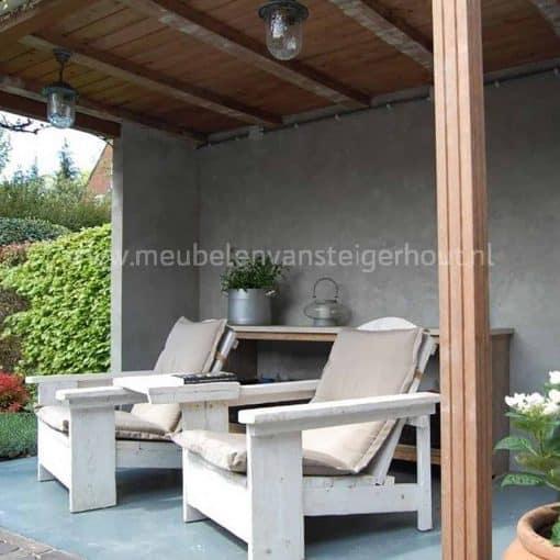Stoere steigerhouten loungestoel, type buffel