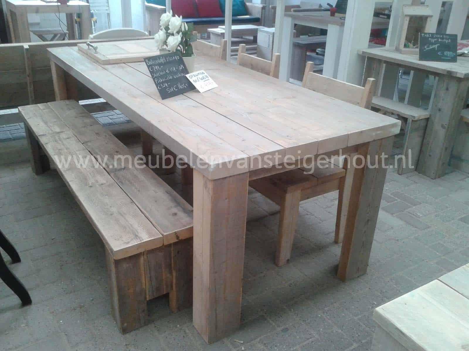 Tuintafel steigerbalken meubelen van steigerhout for Zelf tuintafel maken van steigerhout