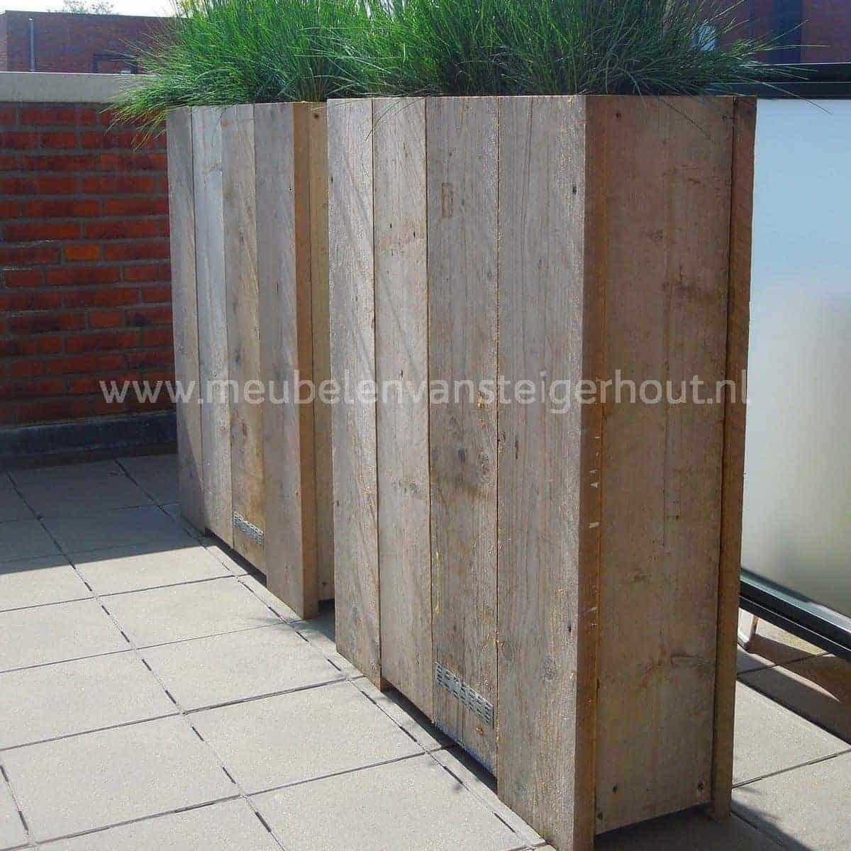 Plantenbak bak 1 meubelen van steigerhout for Schutting intratuin