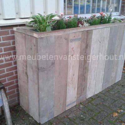Plantenbak steigerhout geschikt als tuinafscheiding