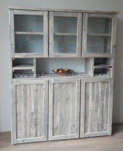 Steigerhouten buffetkast met 6 deuren met glas