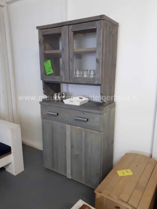 Steigerhout buffetkast wandkast met paneeldeuren en open vakken