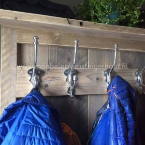 Steigerhouten kapstok met kist staande garderobekast van steigerhout