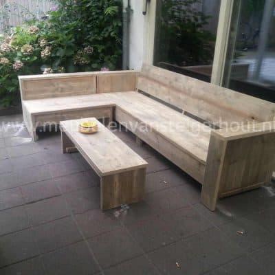Steigerhout hoekbank lounge Bsmart