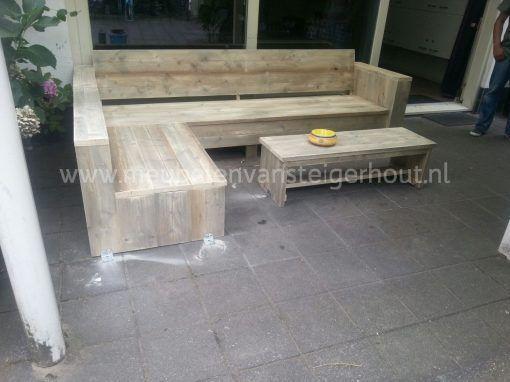 Steigerhout hoekbank lounge model Bsmart