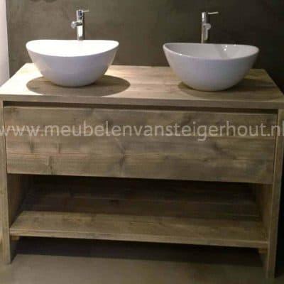 Badkamerkast kast steigerhout type 9, met hoge lade