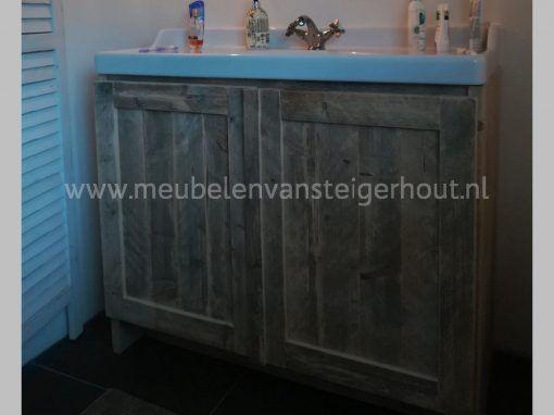 Badmeubel steigerhout met Ikea wastafel 100 cm 2