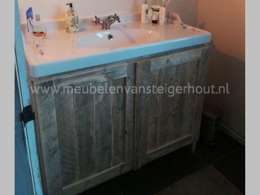 Badmeubel steigerhout met Ikea wastafel 100 cm 1