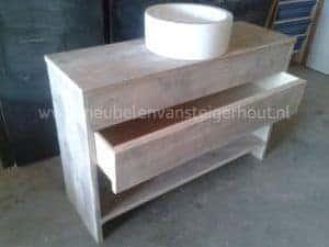 Badkamermeubel steigerhout type 8. Met ruimte voor sifon en lade 4
