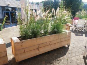 Strakke plantenbak van steigerhout op wielen