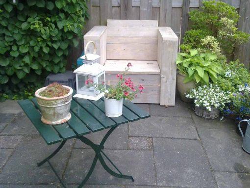 Klepstoel steigerhout voor potten en aarde gemaakt door meubelen van steigerhout het gooi