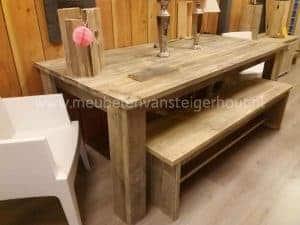 Sale steigerhouten tuinset tafel 200x100 cm bank bijpassend