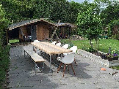 Tuintafel bank good modern steigerhout tuinset tafel bank stoelen