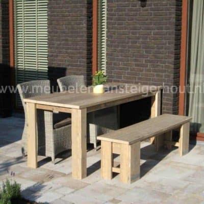 Steigerhouten tuinset met tafel bank en 2 stoelen