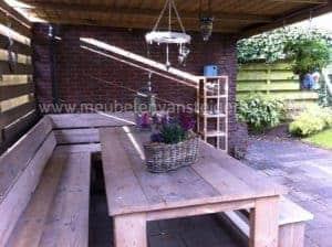 Steigerhouten tuinset met tafel en hoekbank