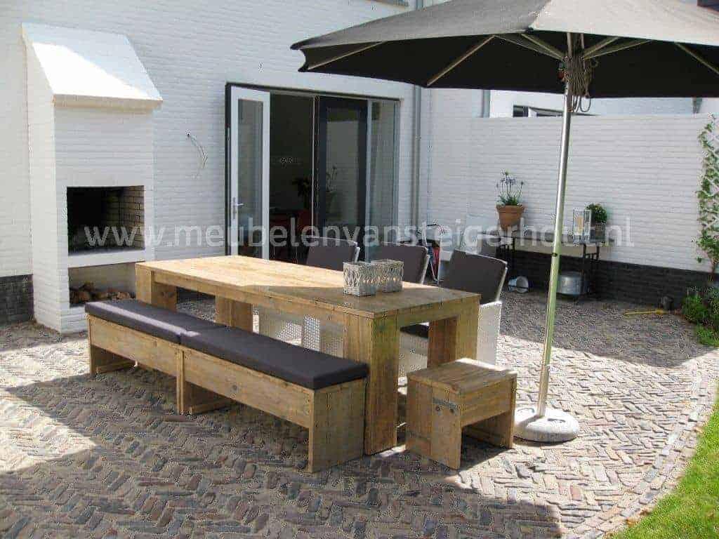 Tuinset steigerhout 6 meubelen van steigerhout for Steigerhout tuinset