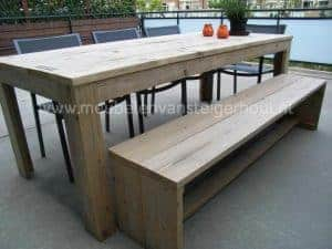 Tuinset van steigerhout met 3 stoelen en picknickbank