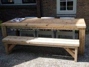 Steigerhouten balkentafel met bank en 3 stoelen