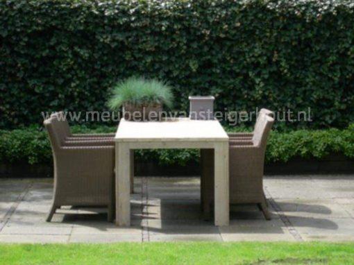 Steigerhouten tafel voor buiten met 4 stoelen
