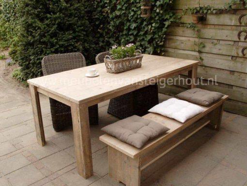 Steigerhouten tuinset met bank en stoelen
