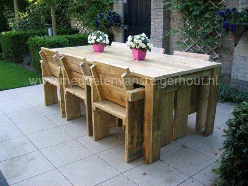 Steigerhouten tuinset met 6 stoelen