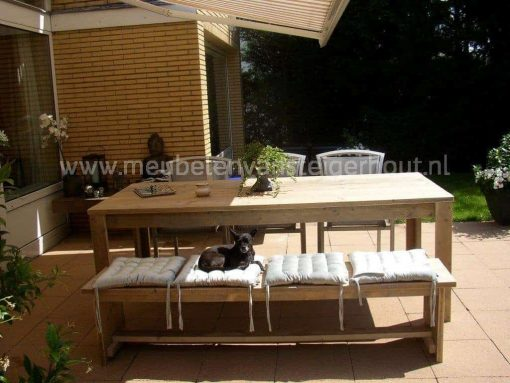 Steigerhouten tuinset met bank en rvs stoelen