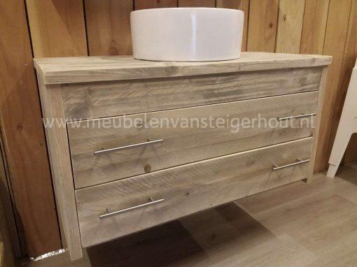 Zwevend badkamermeubel van steigerhout met 2 laden1