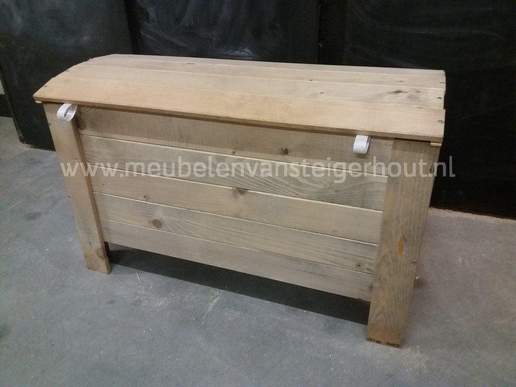 Kist steigerhout met ronde bovenkant 2 meubelen van steigerhout - Huizen van de wereldmeubelen tv ...
