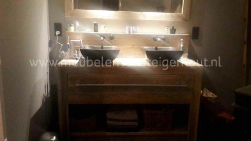 Steigerhouten badmeubel, houten badmeubel, badmeubel van hout met 2 kommen