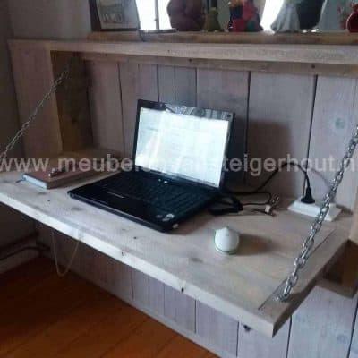 Bureau steigerhout, steigerhouten bureau, hangbureau, klepbureau, bureau met klep