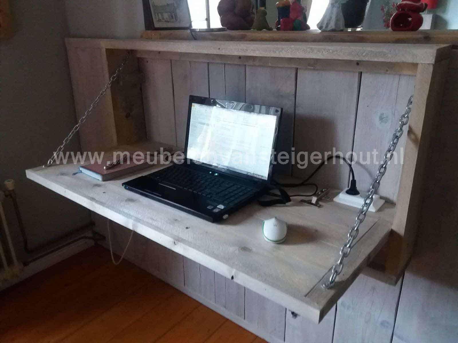 Steigerhouten secretaire meubelen van steigerhout for Steigerhout bureau