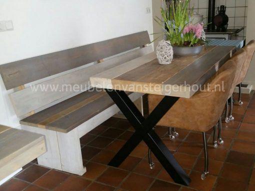 Tafel met metalen kruispoot industriele tafel 3