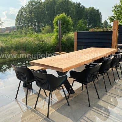 Stalen tafelpoot X met douglas blad 300x100 cm